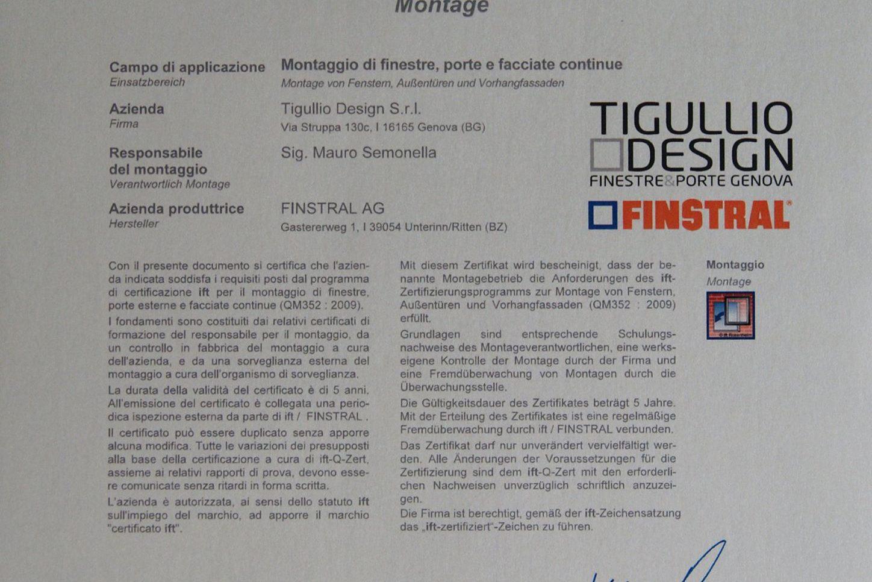 Posa certificata Ift. Tigullio Design è fra i primi 15 rivenditori Finstral in Italia